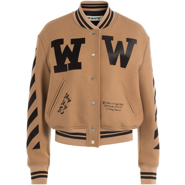 Off-White Virgin Wool Bomber Jacket (1 388 AUD) ❤ liked on Polyvore featuring outerwear, jackets, camel, slim fit bomber jacket, bomber style jacket, flight jacket, bomber jackets and blouson jacket