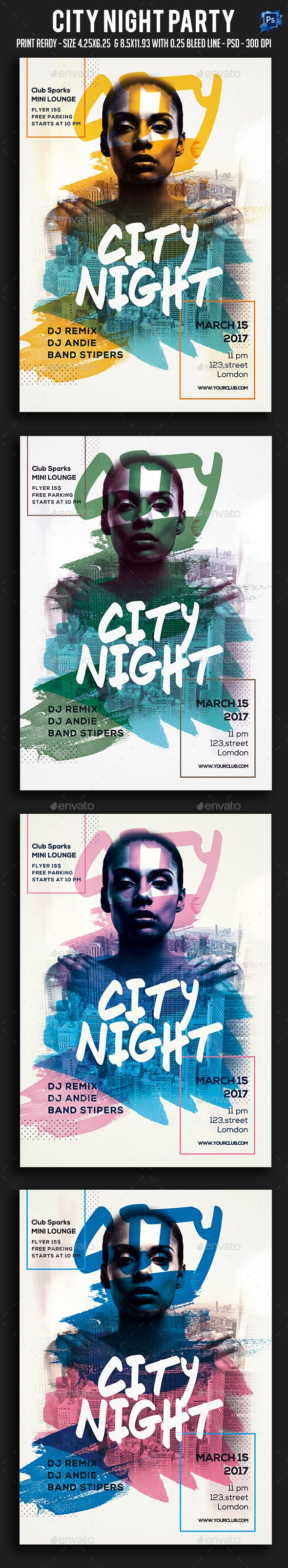 City Night #Party - Clubs & Parties #Events Download here: https://graphicriver.net/item/city-night-party/19464913?ref=alena994
