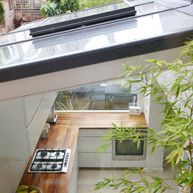 glass ceiling kitchen extension