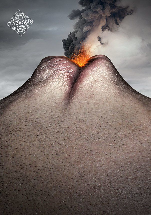 Rely on a single strong visual to communicate the key concept.  Nicolas Baillargeon was tasked to create images that communicate the key essence of hot and spicy Tabasco sauce – the spicy heat itself. This bold image of a volcano crafted from a human face does the trick for me.
