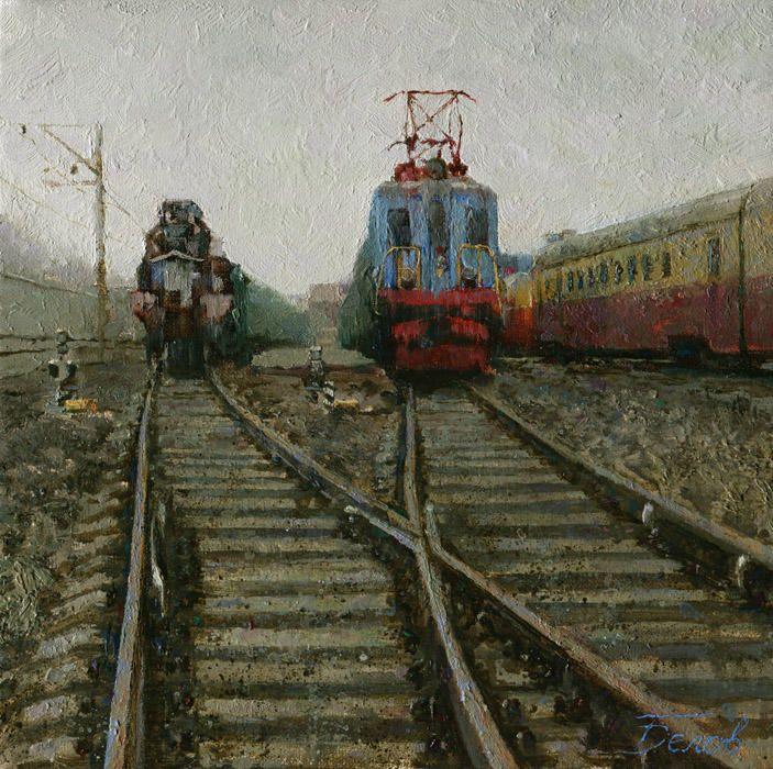 Terminal station 2013, oil on canvas, 20x20 cm, landscape painting by Daniil Belov