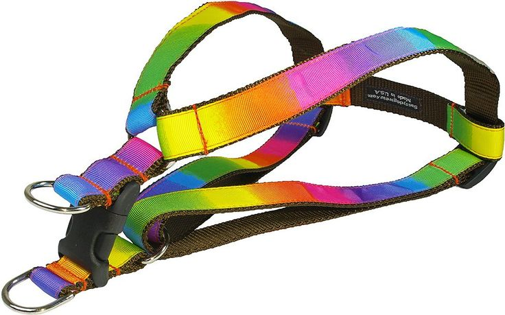 """Match your dog's vibrant personality with the cheerful style of the Sassy Dog Wear Rainbow Dog Harness. Because every dog deserves an accessory that's just as cute as they are, this harness is decked out with a rainbow of colors that puts a stylish twist on the classic harness. The high-quality design is made from sturdy nylon webbing that is both soft and durable, and the step-in design allows her to get """"dressed' in seconds. And because quality matters, it's sewn by hand right here in the…"""