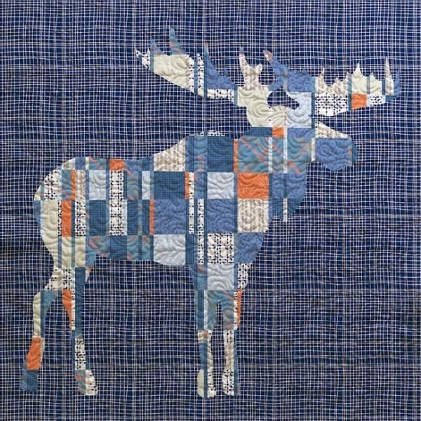 You can feel the strength of this mighty moose. With its beautiful antlers, you have a gorgeous shape and interesting design. This quilt is great for the family room, the getaway home, a man cave or t