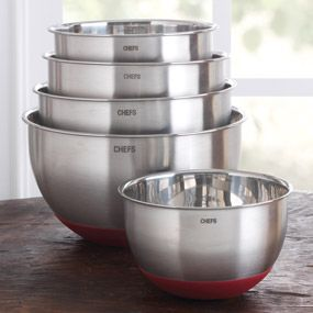 CHEFS Stainless Steel Mixing Bowl Set with Non-Skid Silicone Bottom $59.95 (maybe black bottom)