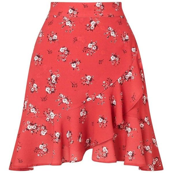 Miss Selfridge PETITE Asymmetric Floral Print Skirt ($55) ❤ liked on Polyvore featuring skirts, petite, red, red ruffle skirt, asymmetrical skirt, frilly skirt, floral printed skirt and tie waist skirt