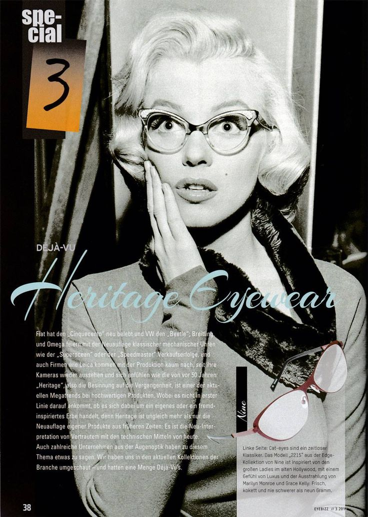 The shape of model 2215 - the cat eye frame from nine eyewear was highly inspired by old Hollywood icons like Marilyn Monroe and Grace Kelly. It was featured in the EYEBizz heritage special. The frame is available in seven beautiful and stylish colours!