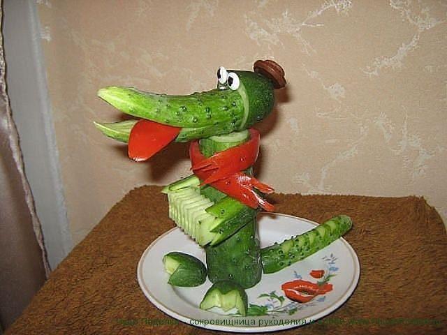 Вот это крокодил Гена!) Отличные поделки своими руками из овощей и фруктов!
