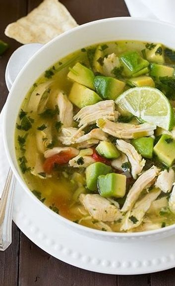 Chicken Avocado Lime Soup ~ like chicken tortilla soup with tons of avocados | CookingClassy.com