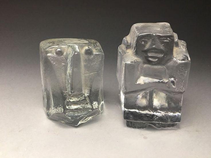 Two Vintage 1960's Kosta Boda Erik Hoglund Cast Glass Sculptures Mid Century Mod    eBay