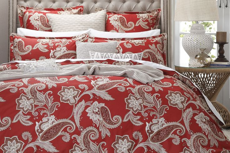 The Alexandra Red offers a beautiful swirling paisley design presented on a deep red background and together they exude a regal ambiance that brings an style and sophistication to your bedroom.