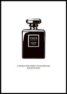 Plakat med svart parfymeflaske fra Chanel.
