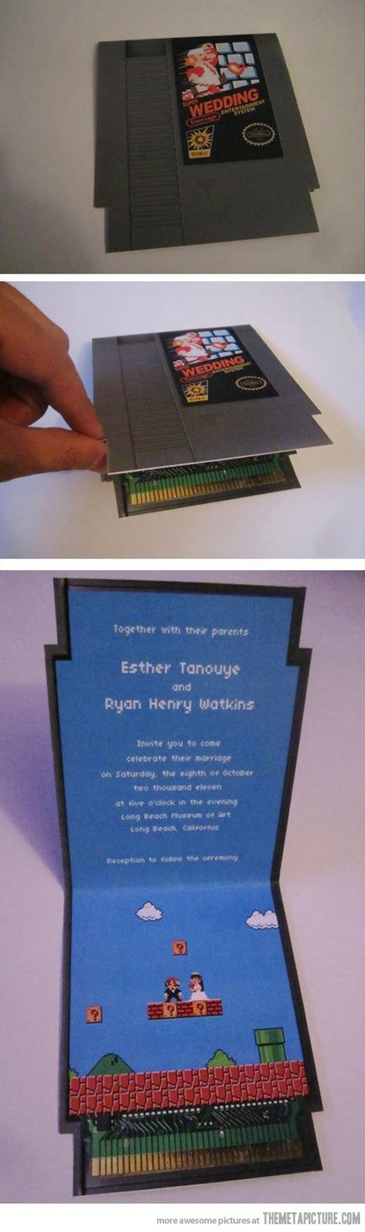 Gamer Wedding Card…  I probably wouldn't do it but I know some people who might. Love the idea though.