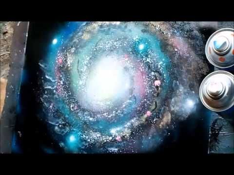▶ Spray Paint Art Secrets September 2013 galaxy,trees, mountains,planets,saturn,airbrush - YouTube