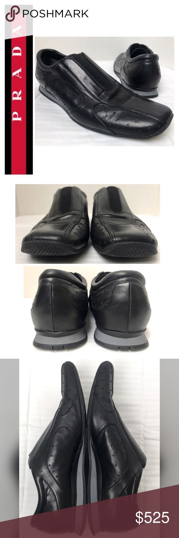 Prada Signature Leather Sneakers Prada Designer Sneakers in Soft Elegant Black Smooth Leather, Elastic Vamp for Easy Slip-On, Size 37 1/2 Tag which fits a US 7 1/2, Made in Italy 🇮🇹, So Comfortable that You'll feel like You're Walking on Air.  Own a Piece of Luxury Now!  Preloved in Excellent Mint Condition! Prada Shoes Sneakers