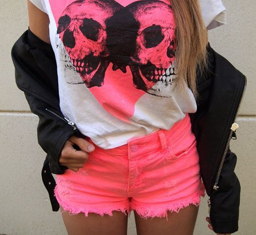 Hot pinkPink Shorts, Fashion Outfit, Teen Fashion, Clothing, Pink Outfit, Neon Green, Hot Pink, Leather Jackets, Neon Colors