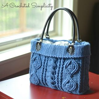 "Crochet Pattern: ""Totally Textured"" Cabled Bag by A Crocheted Simplicity #handmade #crochet #crochetcables #crochetbag #cables #ravelry #crochetpattern #crochetpurse"
