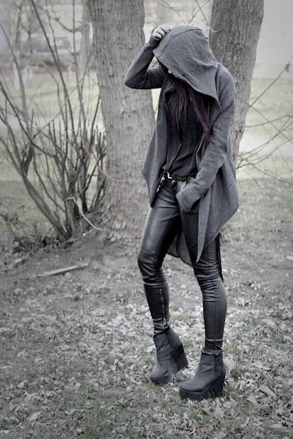 Hooded Waterfall Cardigan with Leather Pants and Wedges love the sweater