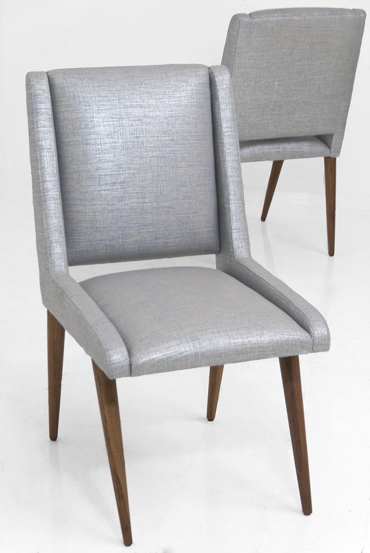 Mid Century Dining Chair In Metallic Silver Linen Ennabe