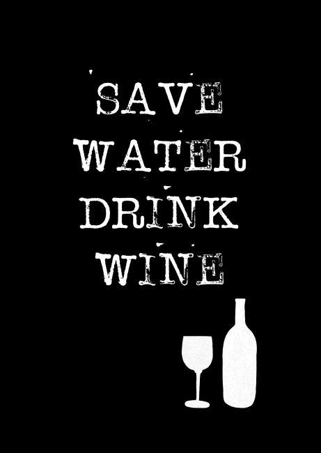 Kaartje Save water drink wine! Ontwerp: byBean. Je shopt 'm hier:  http://www.bybean.nl/kaartjesavewaterdrinkwine