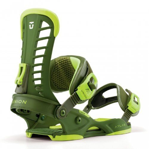 Union Atlas Snowboard Bindings Matte Green Sz M/L (8-11) by Union. $239.00. Key Features of the Union Atlas Snowboard Bindings:Stage III Atlas Base—Dupont Zytel® STAsym/Symmetrical Atlas HighbacksShift on the Fly Forward LeanDual Density EVA BushingsExtruded Aluminum HeelcupsAll-New 3D Direct-Connect Strap SystemMulti-Layer Tapered Strap CoreAll-New Magnesium BucklesUniversal DisksAll-New Open Toe StrapsDual Density Toe RampsGrade 8.8 HardwareLifetime Warranty Base