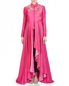 Pink Embroidered Anarkali Kurta Set