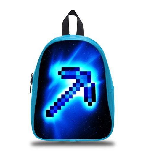 Pick Axe Minecraft Schoolbag Backpack S M L Kids School Bag  #bag #backpack #schoolbag #kids #boy #girl #children #custom #personalized #lego #disney #cartoon #princess #book #bags #gift #elementary #son #sister #elsa #olaf #emmet #creeper #marvel #hero #movie #anime #axe #steve