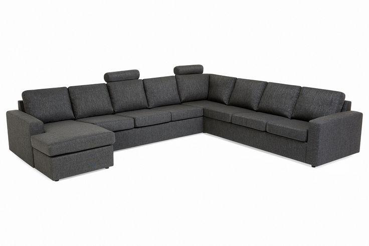 Crazy Hörnsoffa 4+3 med divan - Antracit | Trademax.se