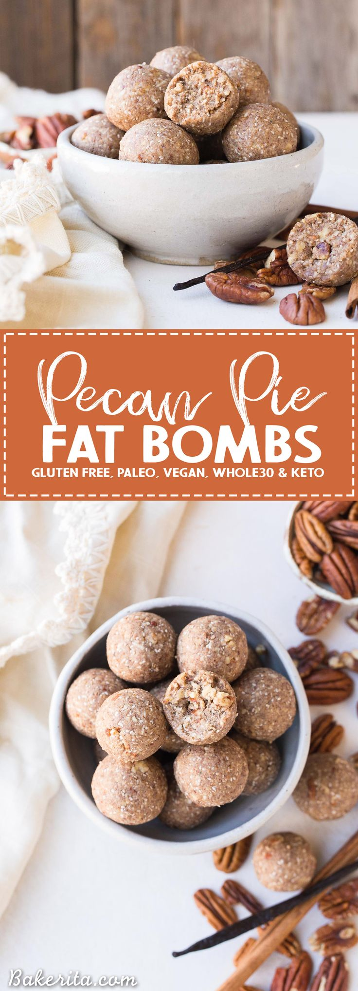 These Pecan Pie Fat Bombs are a super filling nutritional powerhouse, with loads of healthy fats and protein, and no sugar needed! These fat bombs full of vanilla bean and buttery pecans, and they're gluten-free, paleo, vegan, keto, and Whole30-approved.