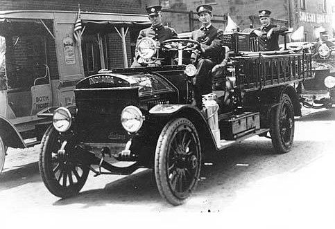 This 1916 photo shows the first motorized firetruck for the city of Marion. The truck was actually manufactured in Marion by the Indiana Truck Corp. The pattern for the radiator top was made at Marion Malleable Iron Works by William E. Ervin.  Historic photo courtesy of Marion Public Library Museum.