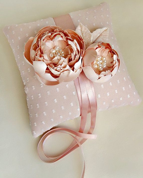 Pink Dot Silk Chiffon and Pearled Peonies Ring by EmiciBridal, $70.00