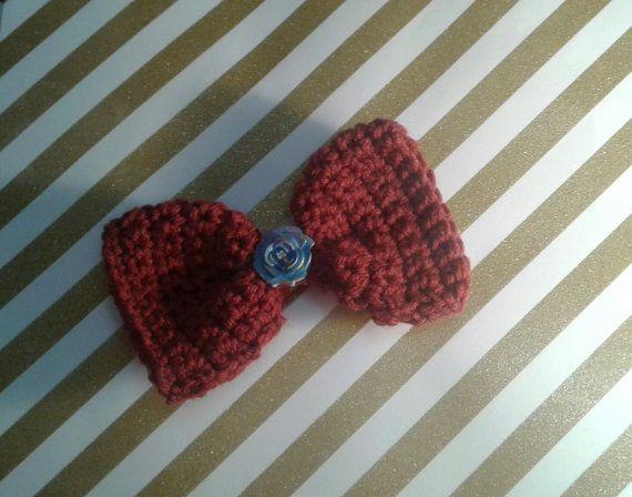 Crocheted hair bow hair bow red hair bow blue by DreamFyreStudios