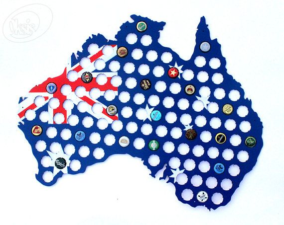 Australia Beer Cap Map Made of Painted Birch Plywood  by Oksis