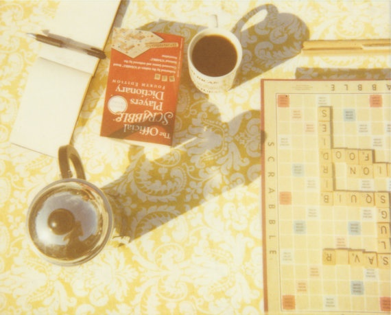 scrabble with coffee  8 x 6 polaroid print by BrookeSchmidt, $15.00