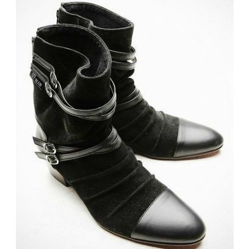 Cool Mens Black Leather Goth Gothic Fashion Style Cowboy Dress Boots SKU-1280059 - Yep I like these.