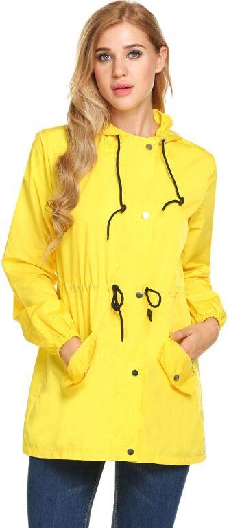 Yellow Women Long Sleeve Solid Hooded Zip Up Rainproof Windproof Raincoat #RaincoatsForWomenLongSleeve