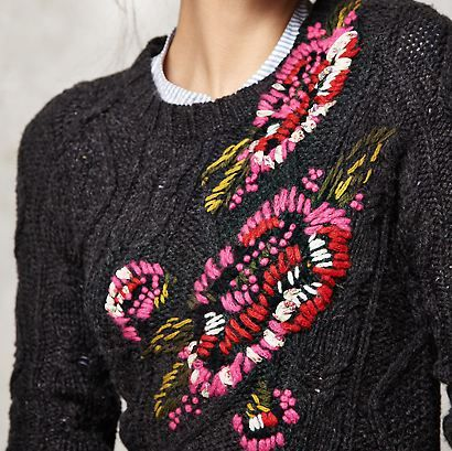 I love the idea of embroidering on a cabled sweater.....: Cable Knit Sweaters, Ideas, Fields Flower, Embroidered Sweaters, Favourit Sweaters, Beautiful Sweaters, Cable Knits Sweaters, Cable Sweaters, Sweaters Could