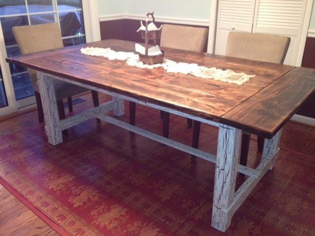Custom Made Reclaimed Wood Trestle Style Farmhouse Table