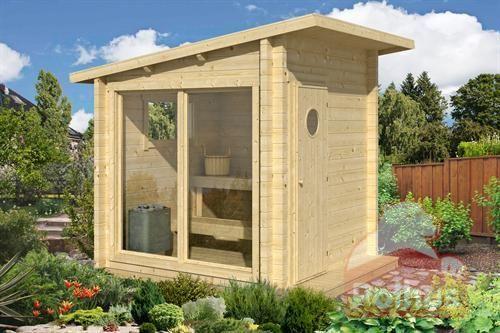 Bygg badstu på en dag. Robust badstue med 70 mm veggtykkelse tilpasset for ved og elektrisk fyring med laminert panoramavinduer.
