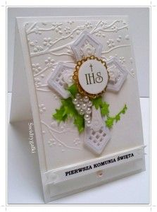 Kartka z okazji Komunii Świętej w bieli z krzyżem
