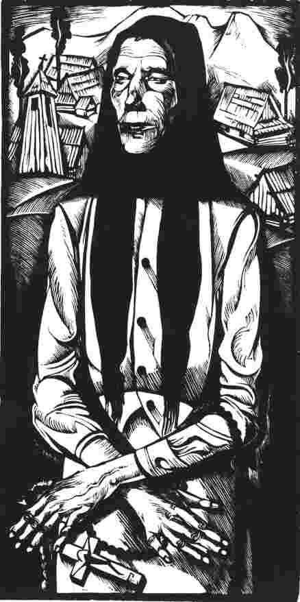 """Tadeusz Kulisiewicz """"Kobieta z różańcem"""", 1931 http://www.wiw.pl/sztuka/plastyka/techniki/grafika/drzeworyt.asp"""