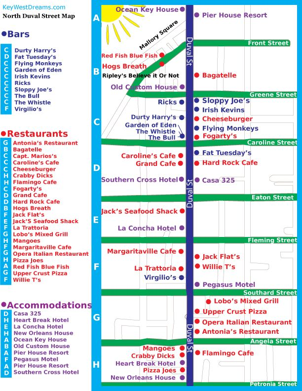 Key West Street Map - prep for our Duval Crawl expierence.