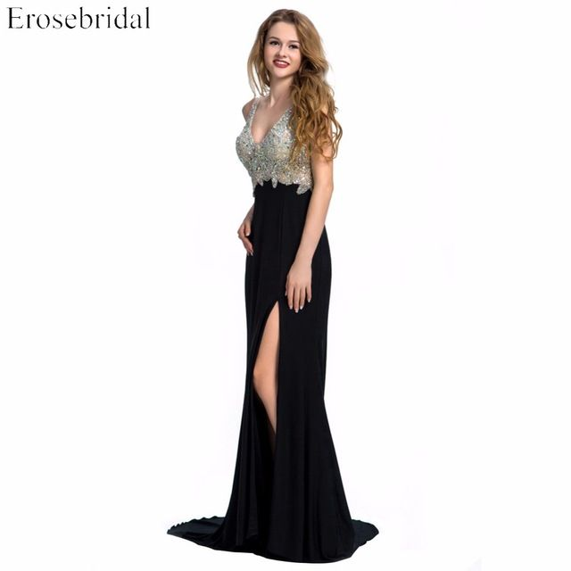 Evening Dress Erosebridal Sparkly Beading Long Prom Party Gowns Sexy V Neck Mermaid  Formal Women Black 28853d2b85e7