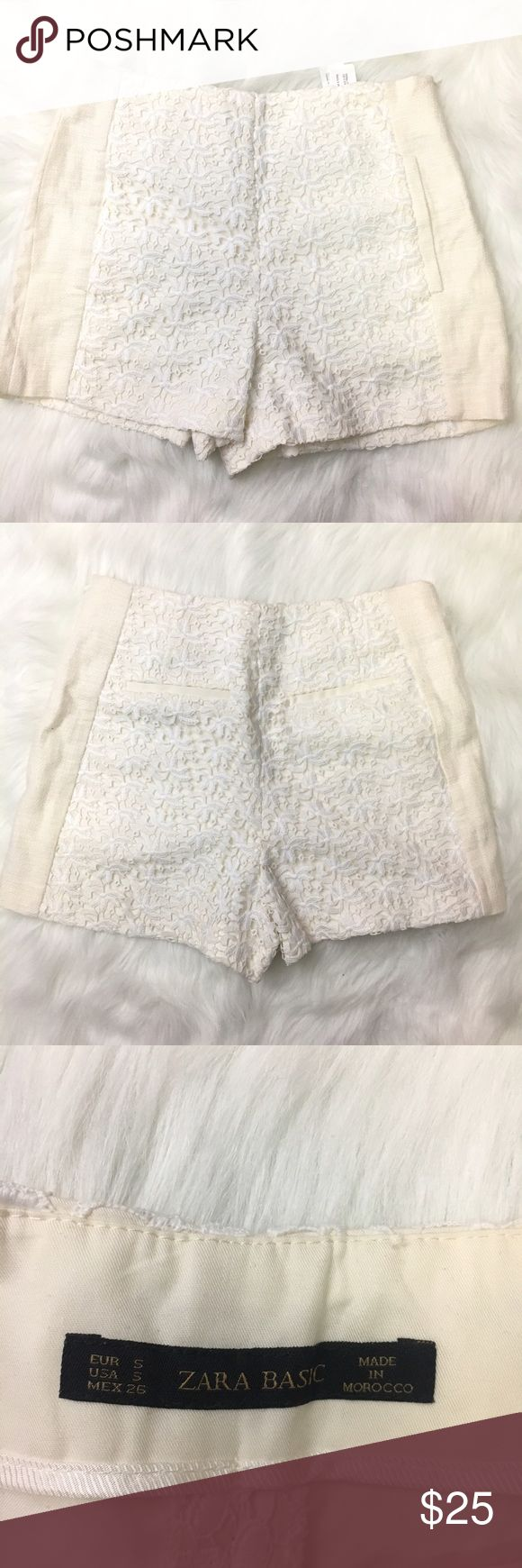 Zara lace shorts cream white size small Has a side zipper, there's a little tread coming out as shown on the last pix however it's unnoticeable there are two front pocket which are stitched which can be opened but two back pockets are faux Zara Shorts