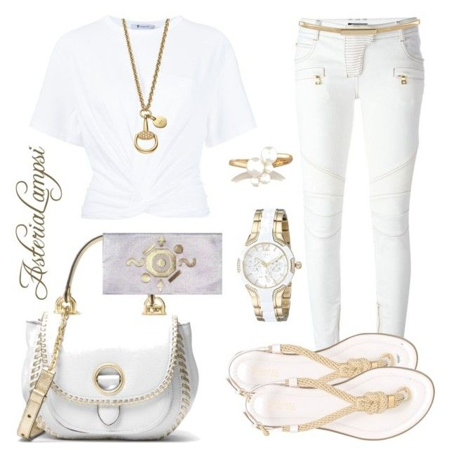"""White and gold"" by asterialampsi-penelope on Polyvore featuring T By Alexander Wang, Gucci, Balmain, GUESS, Topshop, Kenneth Jay Lane and MICHAEL Michael Kors"