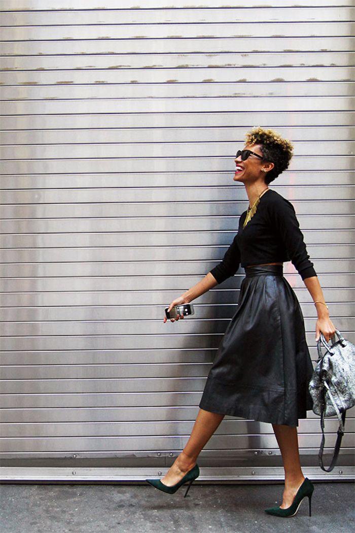 The stylish Elaine Welteroth | black + leather + midi skirt