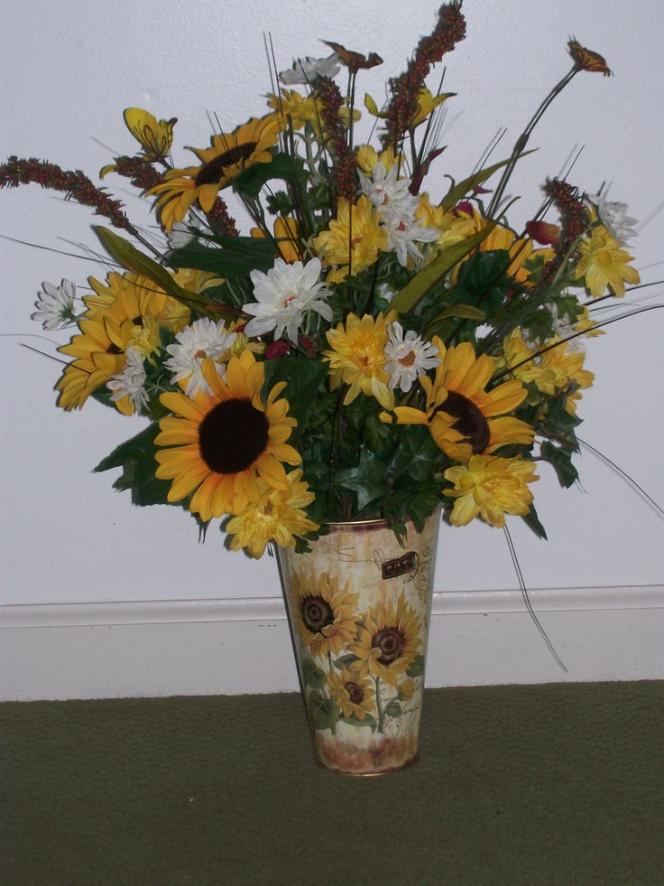 Church flower arrangements with sunflowers