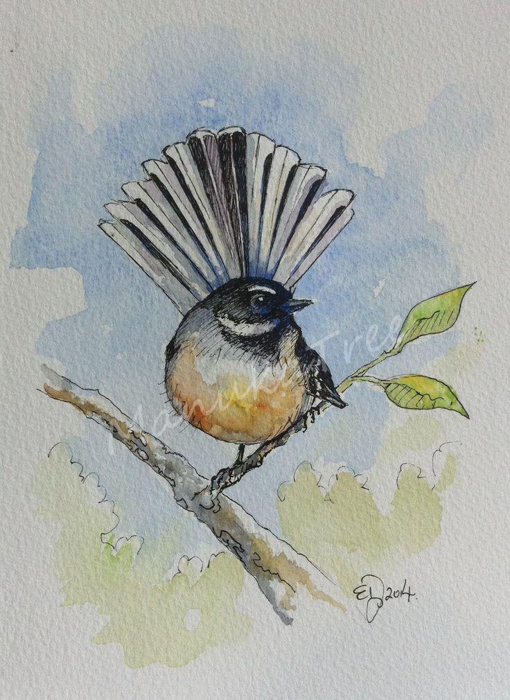 Pīwakawaka - NZ native fantail  http://felt.co.nz/listing/224752/Original-watercolour---Elizabeth-Dodd