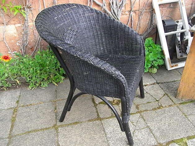 leichter shabby rattansessel f r balkon terrasse wintergarten den garten oder mit. Black Bedroom Furniture Sets. Home Design Ideas
