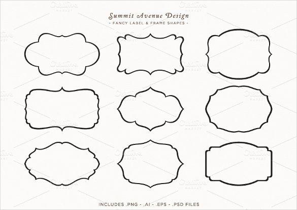 Fancy Label Frame Shapes 194950 Jpg 585 413 Pixels Label Shapes Design Mockup Free Free Packaging Mockup