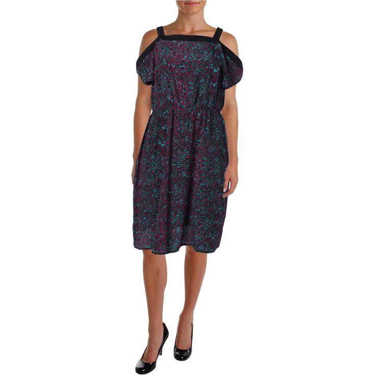 Anna Scholz Womens Plus Silk Animal Print Wear to Work Dress